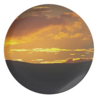 Solnedgång över Lakeland avverkningar Tallrik