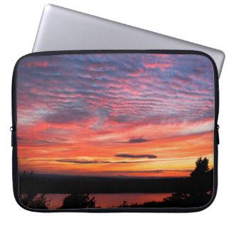 Solnedgång över örn nationalpark för sjöAcadia Laptopfodral