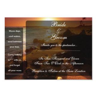 Solnedgång över stenig strand 12,7 x 17,8 cm inbjudningskort