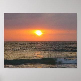 Solnedgång på bukten av Mexico Poster