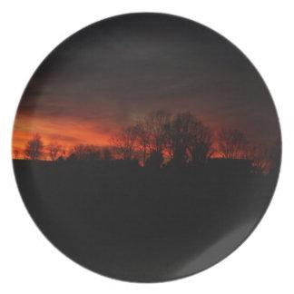 Solnedgång på den Illinois farmsteaden Tallrik