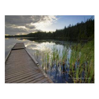 Solnedgång på en liten sjö vykort
