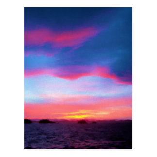 Solnedgång på havsvykortet vykort