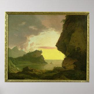 Solnedgång på kusten nära Naples, c.1785-90 Poster