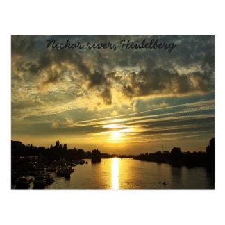 Solnedgång på Neckar River, Heidelberg Vykort