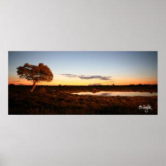 Solnedgång på Okakuejo Poster