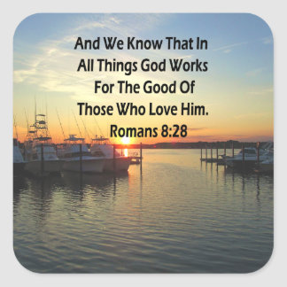 SOLNEDGÅNG PÅ SCRIPTUREN FÖR SJÖROMANS8:28 FYRKANTIGT KLISTERMÄRKE