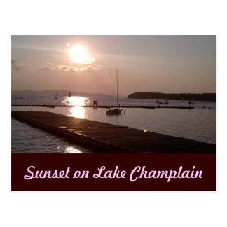 Solnedgång på sjön Champlain Burlington Vermont Vykort