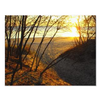 Solnedgång på stranden 10,8 x 14 cm inbjudningskort