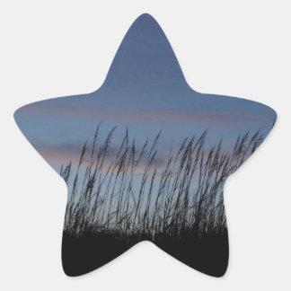 Solnedgång på stranden stjärnformat klistermärke