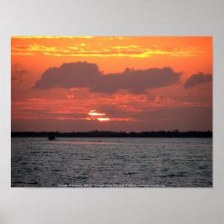 Solnedgång Placencia, Belize Poster