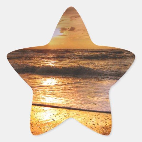Solnedgång Stjärnformat Klistermärke