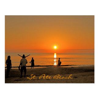 Solnedgång - strand för St. Pete Vykort