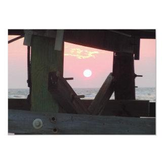 Solnedgång till och med pir - Oakö, NC 12,7 X 17,8 Cm Inbjudningskort