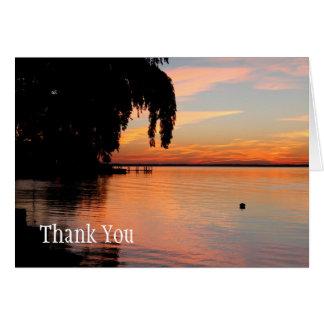Solnedgången det stationära tack noterar kortet hälsningskort