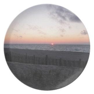 solnedgången på den-hjärtad sjön, Michigan plätera Tallrik