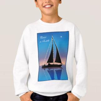 Solnedgången seglar med helgdagljus t-shirts