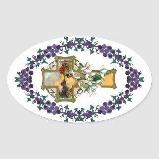 Solnedgångkristenkor Ovalt Klistermärke