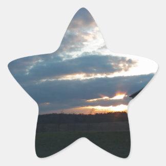 solnedgångmoln/ladugård stjärnformat klistermärke