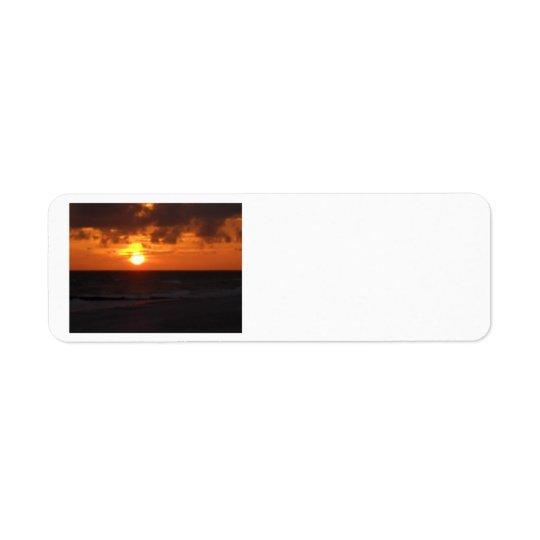 Solnedgångreturetiketter Returadress Etikett
