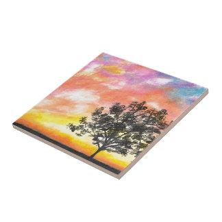 Solnedgångträd landskap kakelplatta