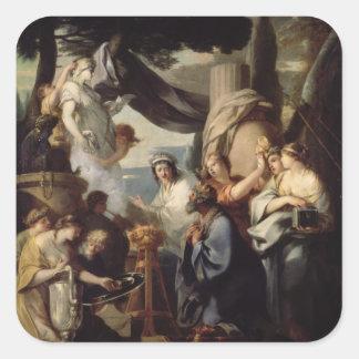 Solomon skapar ett offer till förebilderna fyrkantigt klistermärke