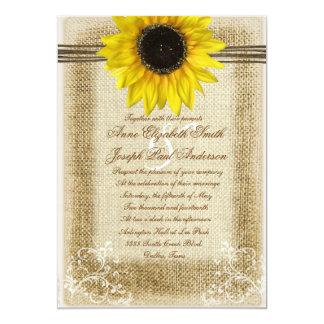 Solros- och burlapbröllopinbjudan 12,7 x 17,8 cm inbjudningskort