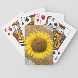 Solros- och Burlapstruktur som leker kort Spelkort