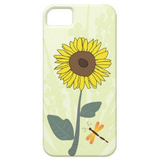 Solros och slända med blom- intryck iPhone 5 skal