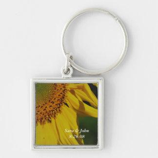 Solrosblommabröllop daterar Keychain Nyckel Ring