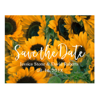 Solrosbröllop spara datum vykort
