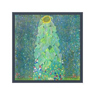 Solrosen vid Klimt, vintage blommar art nouveau Canvastryck