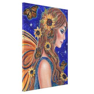 Solrosfe med fjärilskonst vid Renee Canvastryck