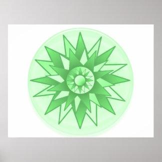 Solrosgrönt skuggar - meditationen Chakra Poster