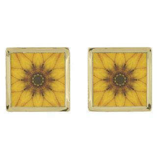 solroskaleidoscope guldpläterade manschetterknappar