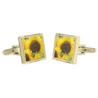 Solrosor i blom guldpläterade manschetterknappar