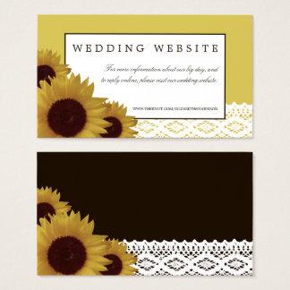 Solrosor och Website för vintagesnörebröllop Visitkort