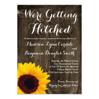 Solrosträ som får Hitched gifta sig inbjudningar