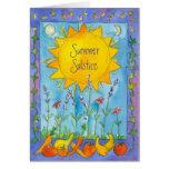 Solstice för sommar för vattenfärg för hälsningskort