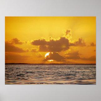 Soluppgång drunknade Cays, Belize Poster