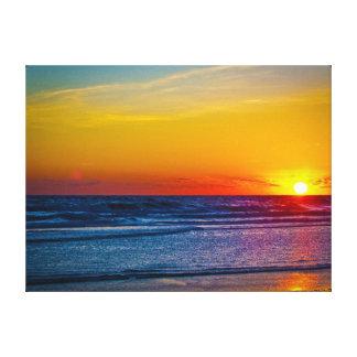 Soluppgång över Atlantic Ocean & vattenreflexion I Canvastryck