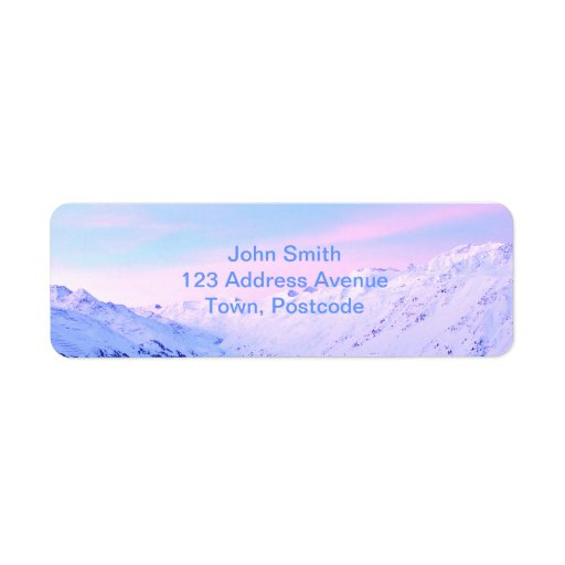 Soluppgång över snöig berg returadress etikett