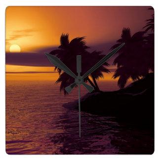 soluppgången kvadrerar tar tid på fyrkantig klocka