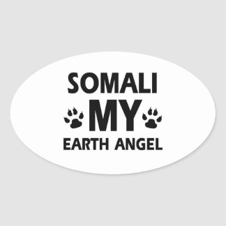somali kattdesign ovalt klistermärke
