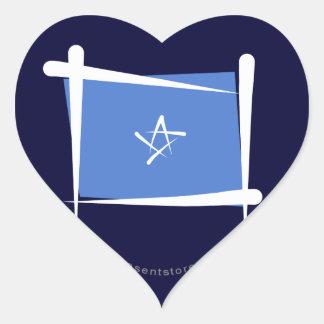 Somalia borstar flagga hjärtformat klistermärke