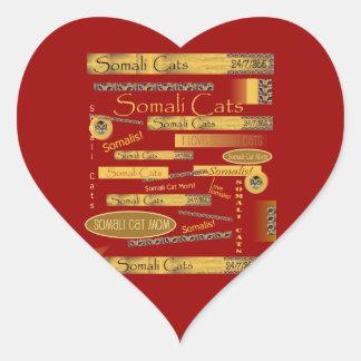 Somalisk kattfanatiker hjärtformat klistermärke