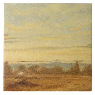 Sommar - aftonen landskap (olja på kanfas) kakelplatta