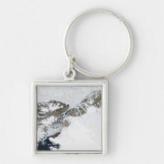 Sommarblidvädret Fyrkantig Silverfärgad Nyckelring
