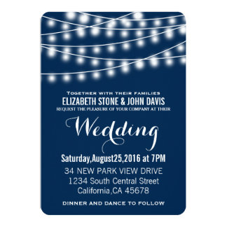 Sommarbröllop stränger ljusdesign 12,7 x 17,8 cm inbjudningskort