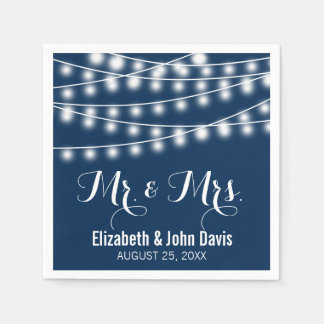 Sommarbröllop stränger ljusdesign pappersservetter